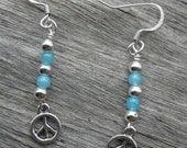 Blue Peace Dangle Earrings