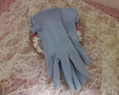 Vintage Fashion Gloves Powder Blue with Bow and Pearls