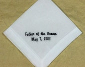 Wedding Father of Groom Personalized Cotton Handkerchief Embroidered HM400