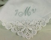 Wedding Hankerchief Personalized Embroidered Cotton Monogrammed Bridal 9301C