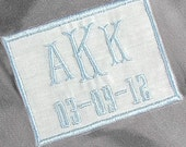 For the Bride Something Blue Monogrammed Wedding Dress Label Personalized Dress Patch in White Linen