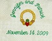 Irish Celtic Claddagh  Wedding Blanket Throw Kelly Emerald Green
