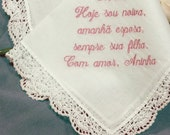 Personalized Wedding Handkerchief Portuguese Hankie Embroidered No. 401