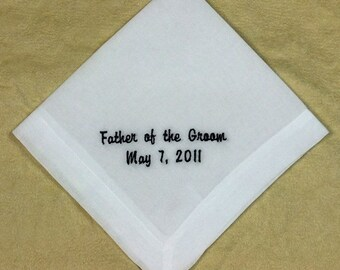 Father of Groom Wedding Handkerchief  Personalized Cotton Handkerchief Embroidered HM400