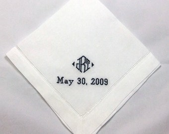 Linen Mans Wedding Handkerchief Embroidered Personalized No. HML403