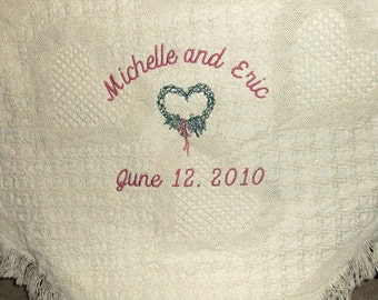 Personalized Wedding Blanket Embroidered Cotton Throw Gift |2 year Anniversary Gift | 2nd Anniversary Cotton Gift | 2nd Wedding Anniversary