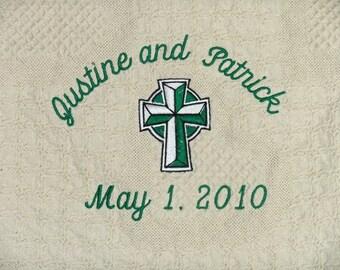Irish Wedding Gift | Celtic Cross Irish Gift | Personalized Wedding Blanket Throw | Personalized Embroidered Irish Wedding