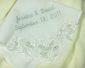 Couture Embroidered Wedding Handkerchief   Personalized Wedding Hanky Gift   Mother of the Bride Gift