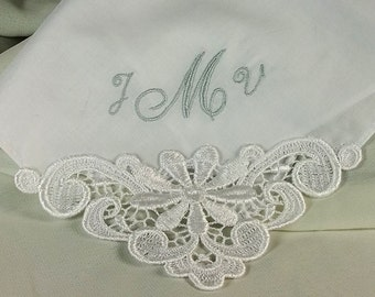 Monogram Handkerchief  Bridesmaid Gift Personalized Wedding Handkerchief Hanky Embroidered in Luxurious Linen 9301L
