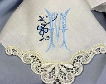 Bridesmaid Monogrammed Gift Hankerchief created in IVORY Linen with Venice Lace Motif Hankie 9102L