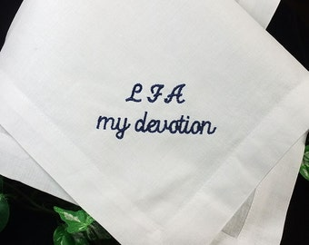 Wedding Hanky for your Groom   Personalized Groom Handkerchief from Bride Wedding Gift Created in Luxurious Linen