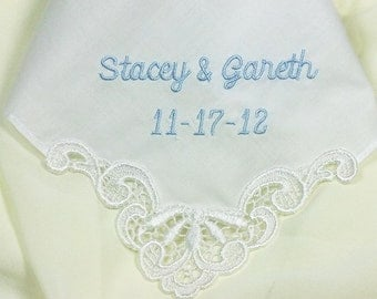 Something Blue for Bride Personalized Wedding Hanky for Bride Created in a Soft Linen Wedding Handkerchief 9102