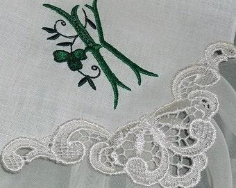 Embroidered Wedding Handkerchief in White Linen Wedding Handkerchief Personalized Hanky
