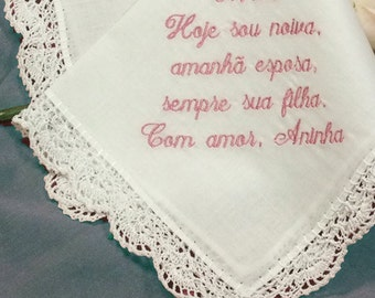 Embroidered Spanish Wedding Vows Personalized Wedding Handkerchief Embroidered in Spanish or Other Language H401