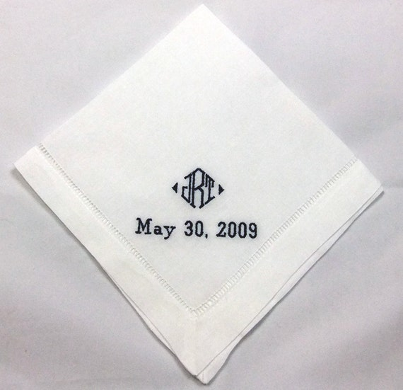 Linen Groomsmen Gift Personalized Wedding Handkerchief Embroidered HML403