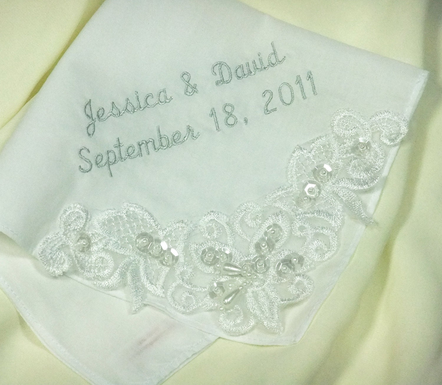 Couture embroidered wedding handkerchief by