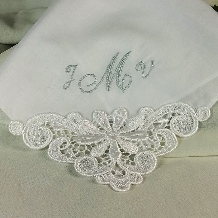Embroidered handkerchief for bride mother by