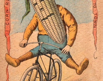 """Vegetable People Corn Riding a Bicycle 8 x 12"""" Print"""