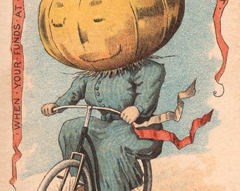 """Vegetable People Onion Riding a Bicycle 8 x 12"""" Print"""