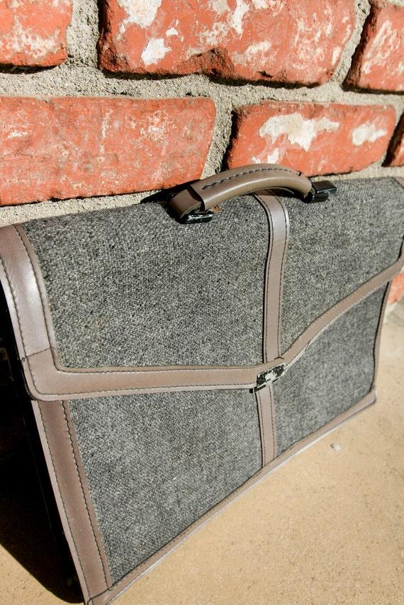 vintage tweed and leather briefcase