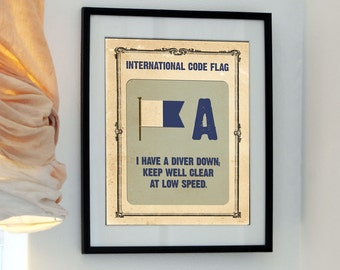 Letter A - I have a diver down keep well clear at low speed - Vintage International Code Flag