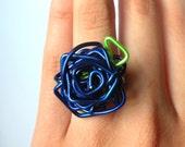 Paperclip Rose Ring - Metallic Blue