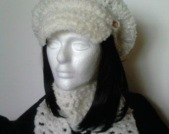 Plush Cream Hat and Scarf Set
