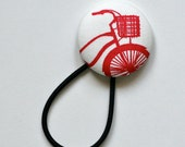 Super Large Hair Tie - Bicycle with Basket - Red and White on Super Strong Snagless Elastic