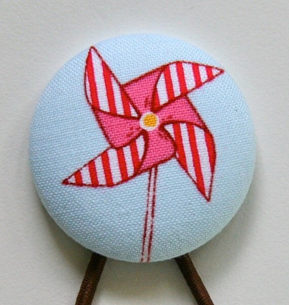Hair Tie - Super Large 38mm Covered Button - Pink and Aqua - Stripey Pinwheel