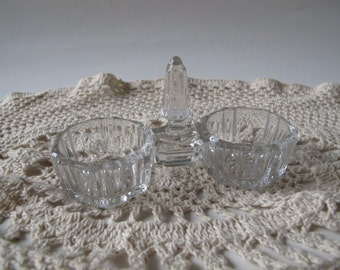 vintage double open salt and pepper in clear glass