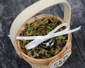 Personalized ring basket - Ring bearer, woodland, shabby chic, country wedding, rustic, burned engraving