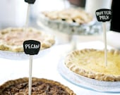 SET of 6 Mini Double-sided Chalkboard Signs, chalk included - Pie markers, candy bars, dessert tables, table numbers & more