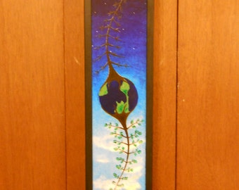 The World. Framed 6x24 inch original acrylic painting. Ready to hang.