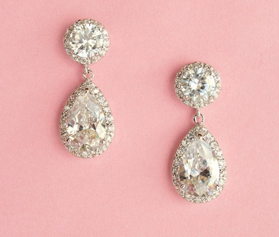 FREE SHIPPING - Silver Drop Wedding Earrings