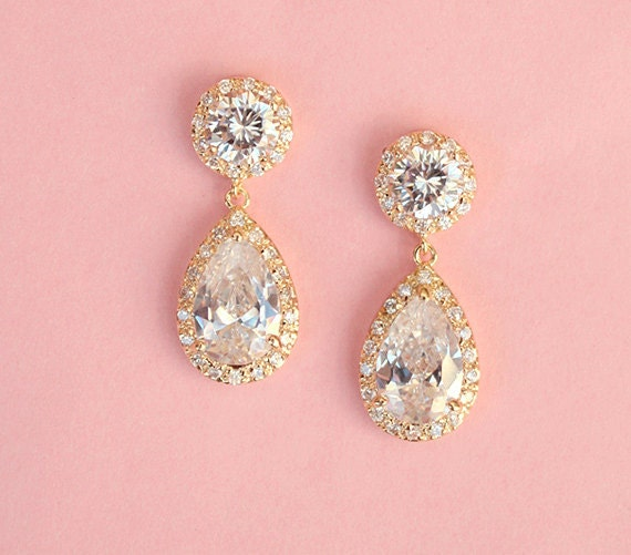 FREE SHIPPING - Gold Drop Wedding Earrings - Cubic Zirconia