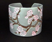 Silver Cuff Bracelet Asian Cherry Blossom Pink Polymer Clay Wide Cuff Hand Stamped Art Jewelry