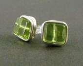 Wire Wrapped Earrings Stud Earrings Nickel Free Peridot Green Post Earrings Wire Wrapped Jewelry Square Post Earrings
