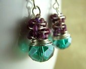 Wire Wrapped Earrings Teal Green Crystal Beaded Tornado Wrapped Wirework