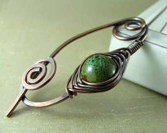 Shawl Pin Copper Wire Scarf Sweater Pin Hand Forged Fibula Wire Wrapped Jewelry Green Brooch Ceramic Speckled Copper Jewelry