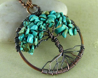 Tree Of Life Necklace Wire Wrapped Pendant Turquoise and Copper Jewelry Wire Wrapped Jewelry