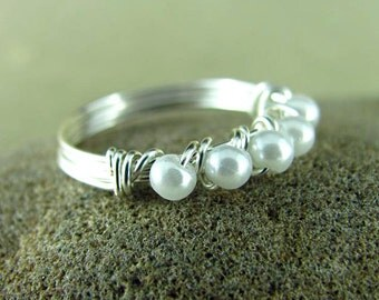 Wire Wrapped Ring Eternity Style Pearl Ring Custom Ring Silver Wire Wrapped Jewelry Nickel Free