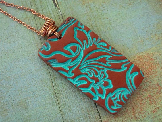 Copper Turquoise Necklace Polymer Clay Jewelry Domino Pendant Hand Stamped Art Jewelry