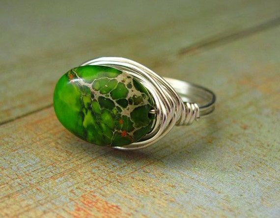 Wire Wrapped Ring Green Imperial Jasper Custom Ring Wire Work Beaded Semi Precious Stone