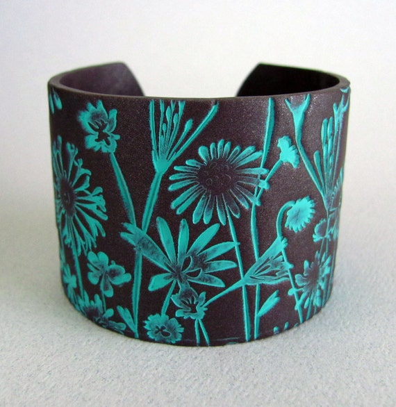 Cuff Bracelet Polymer Clay Jewelry Handmade Art Jewelry Hand Stamped Jewelry Wide Bracelet