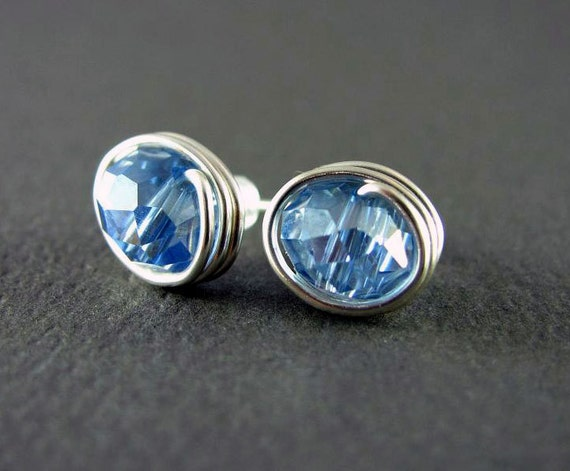 Wire Wrapped Earrings Blue Crystal Earrings Small Stud Nickel Free Wire Wrapped Jewelry Post Earrings