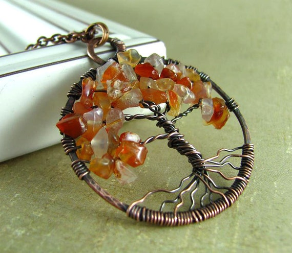 Wire Wrapped Necklace Tree Of Life Necklace Wire Wrapped Jewelry Red Agate Copper Necklace Wire Wrapped Pendant Wire Wrapped Copper Jewelry