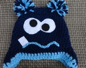Monster Hat Navy and Bright Blue Crochet Halloween Beanie with Earflaps and Tassels