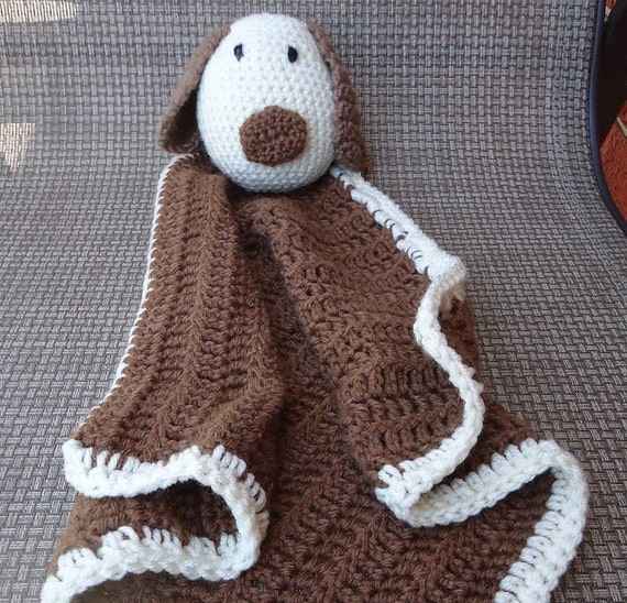 Free Crochet Patterns For Dog Blankets : Puppy Dog Lovey Brown and Tan Crochet Security Blanket READY