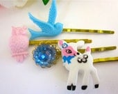 Hair Accessories Forest Friends Owl Deer Bird Bobby Pins