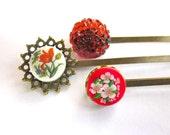 Summer Red Girls Hair Accessories Botanical Bobby Pins